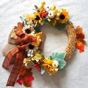 Fall Farmhouse Wreath Autumn Wreath Handmade Decor